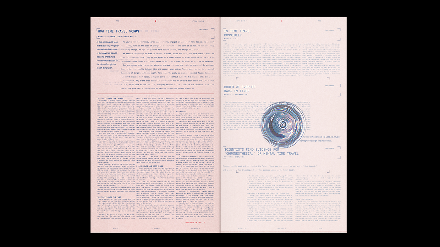 editorial design  time travel layouts mexico udem Artciles typography   student magazine print