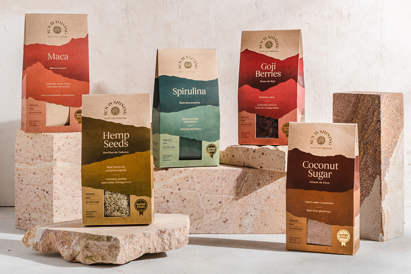 branding  Costa Rica healthy food Logo Design mountains natural organic Packaging product design  super food