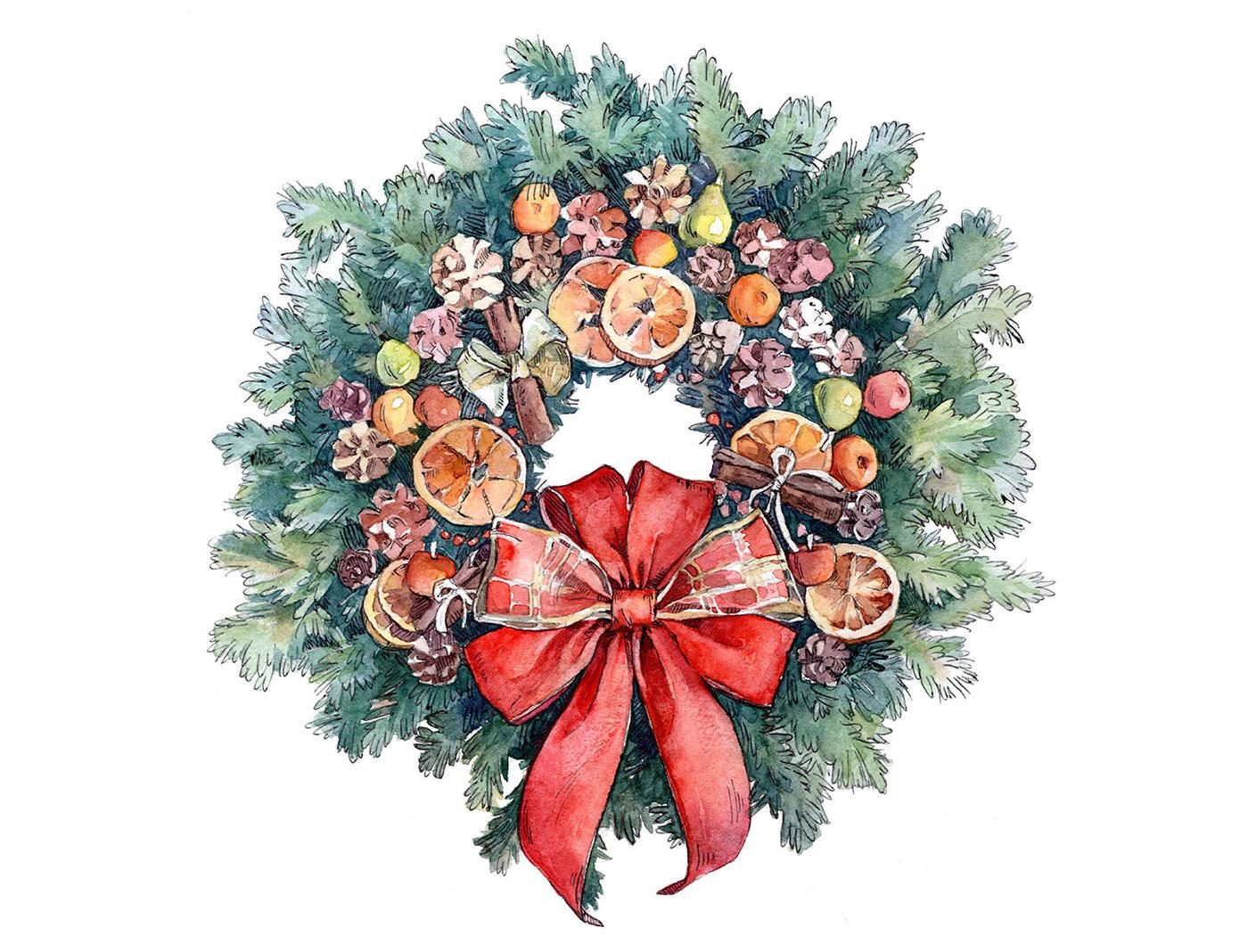 Акварельные новогодние открытки пнг