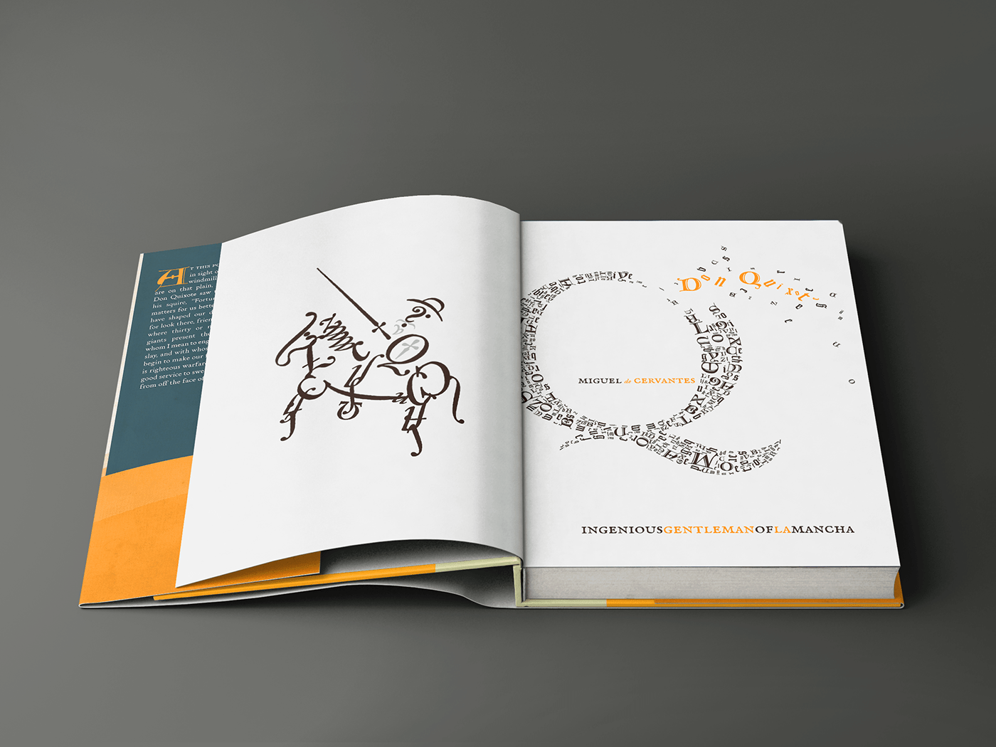 Typographic Illustration of Don Quixote