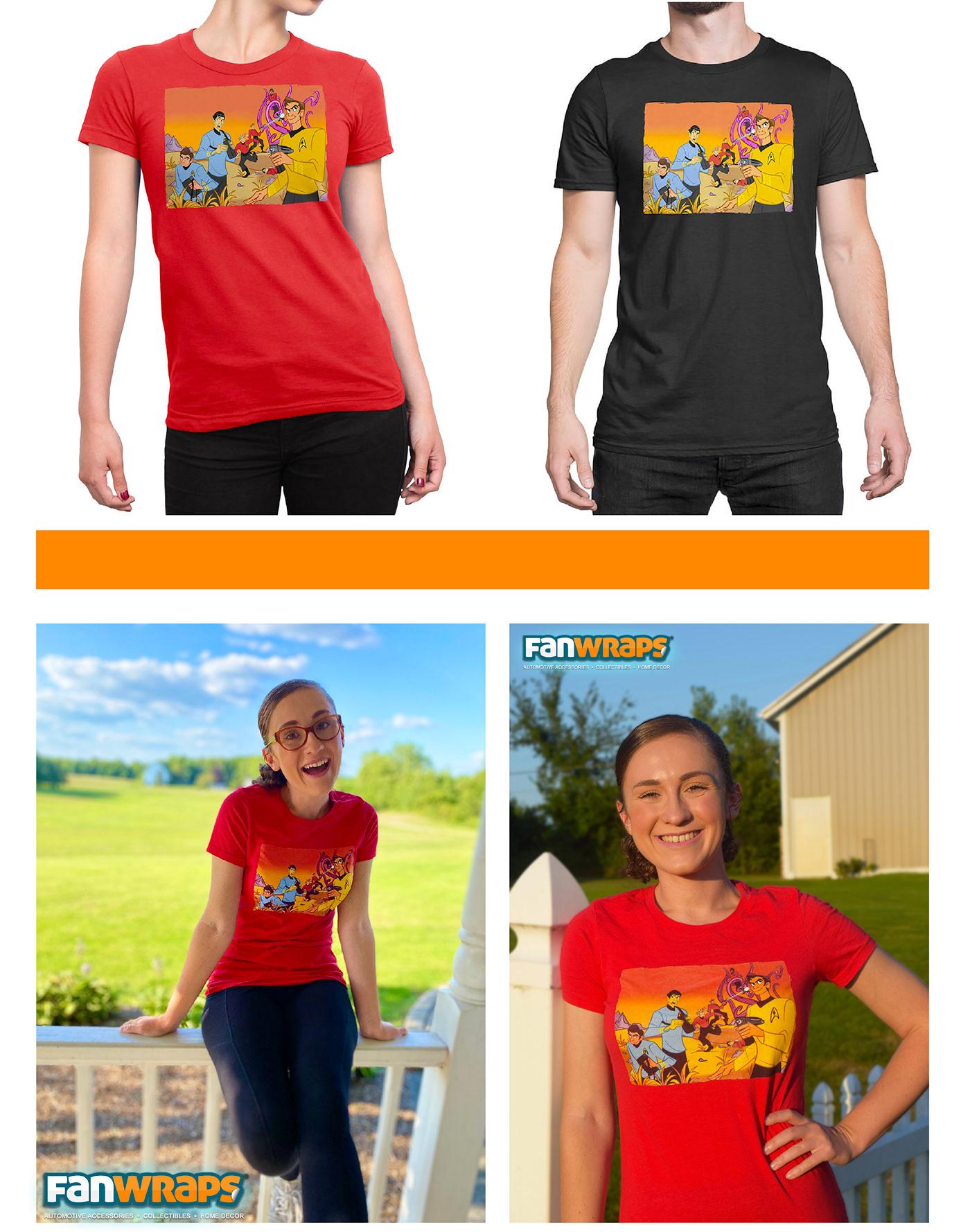 Cartoons graphic design  ILLUSTRATION  product design  Star Trek T-Shirt Design