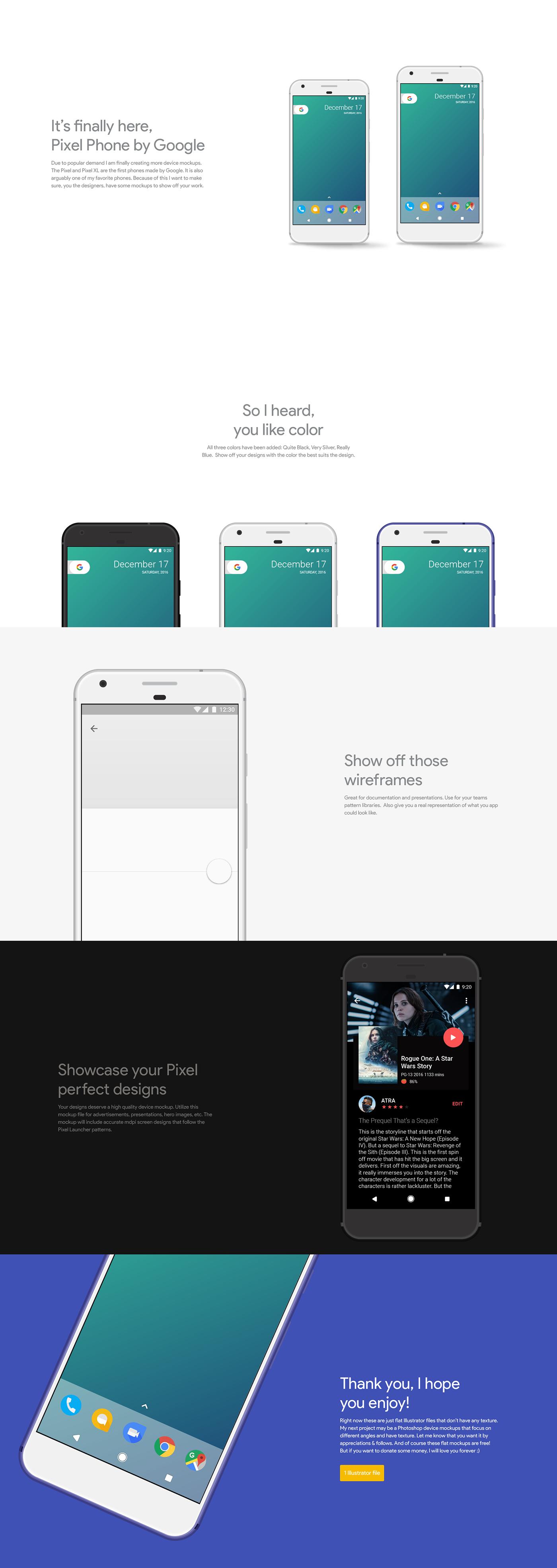 pixel Pixel XL google android mockups Illustrator Nougat Pixel Launcher nexus atra