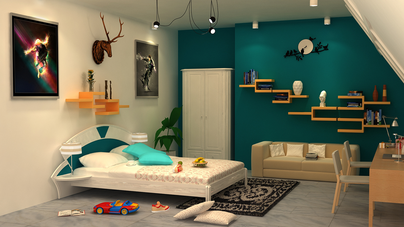 3d interior of bedroom with 3ds max with vray on behance - Autodesk 3ds max interior design ...