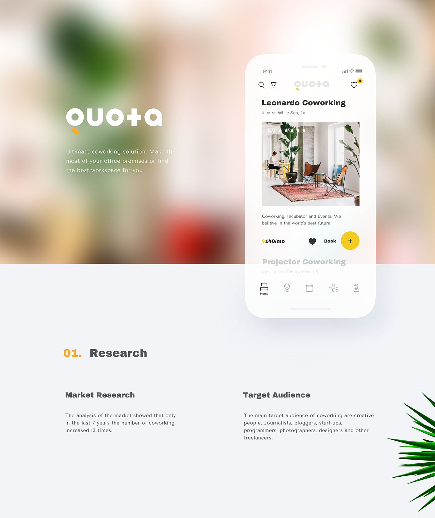 UI ux app coworking community social clean app design service Office