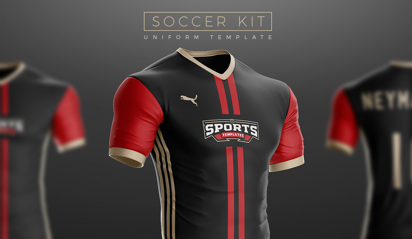 Most Realistic Soccer Uniform Template On The Internet Full Of Features Super Editable Fully Built In 3D With Reflections Shadows Cleanly SeparatedTo