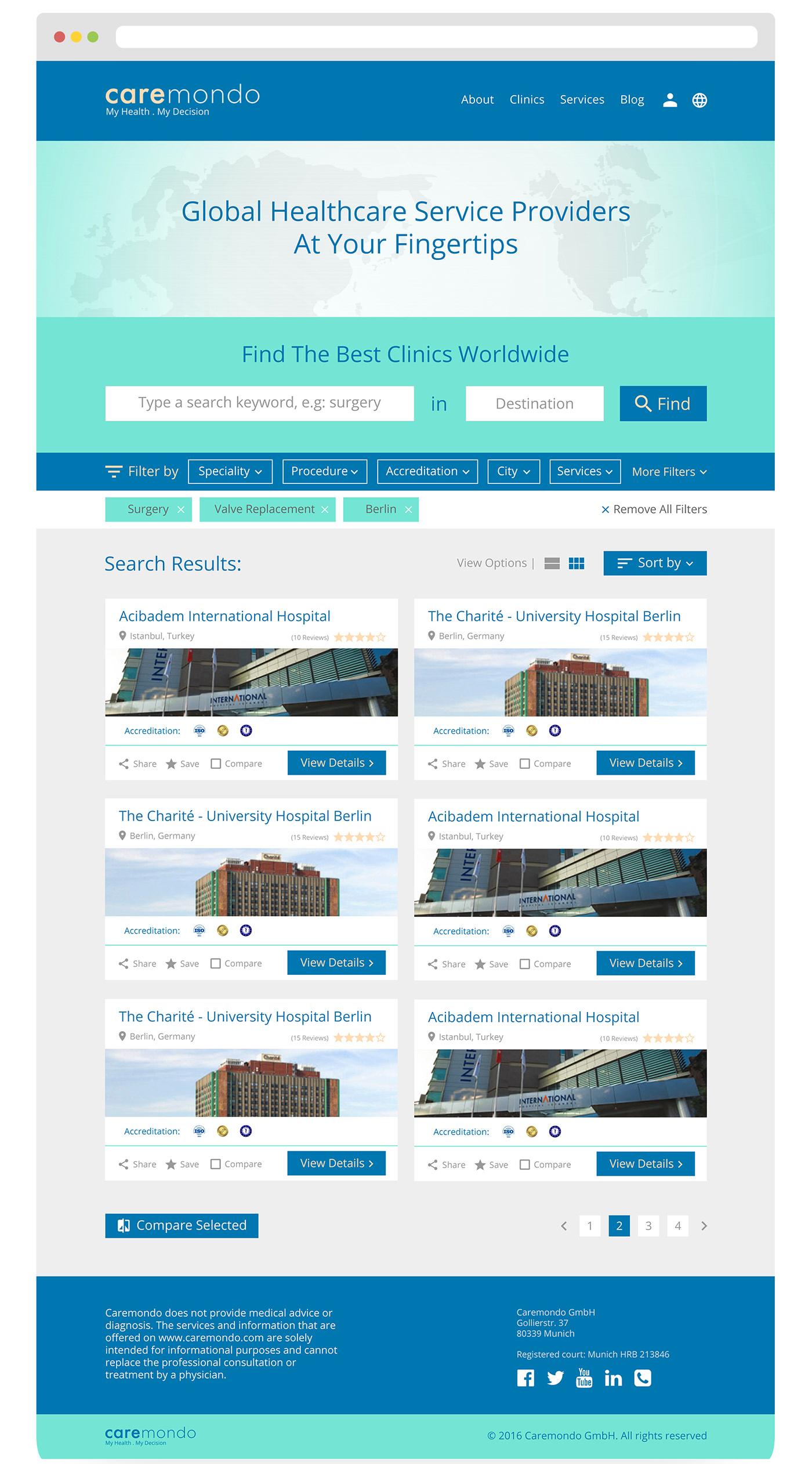 CareMondo Search Page UI