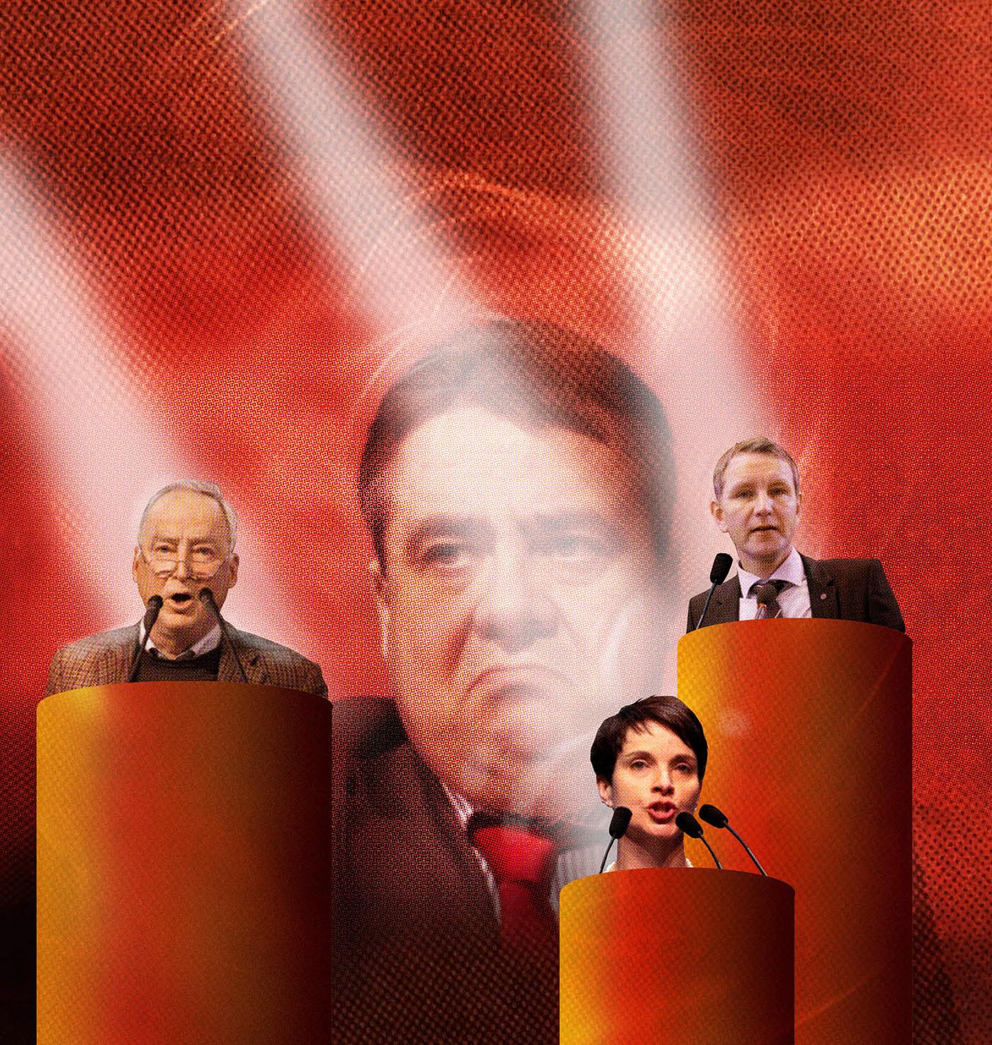 Sigmar Gabriel's right wing opponent AFD  politicians Frauke Petry, Alexander Gauland, Björn Höcke