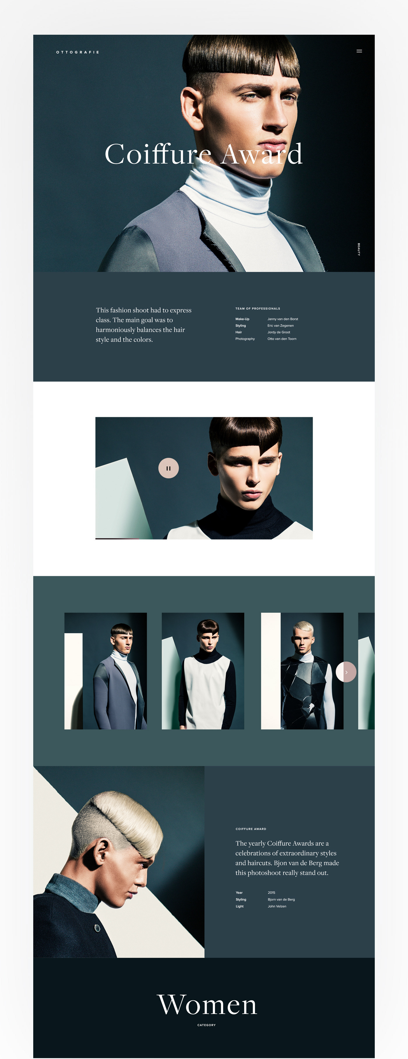 Project page for a fashion experience website