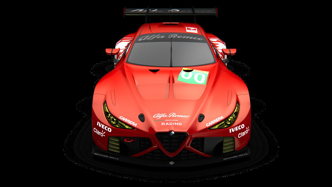 alfa romeo Alias keyshot GTE race car concept car 3d modeling