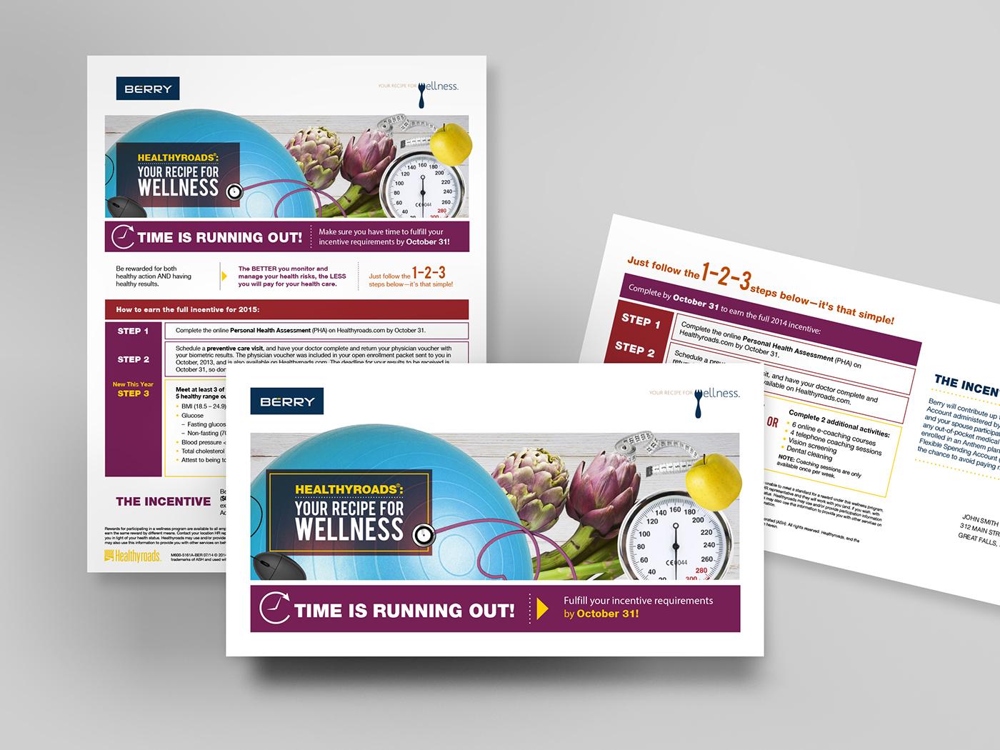 brochure postcard flier Direct mail flyer cover Wellness fruits campaign Veggie