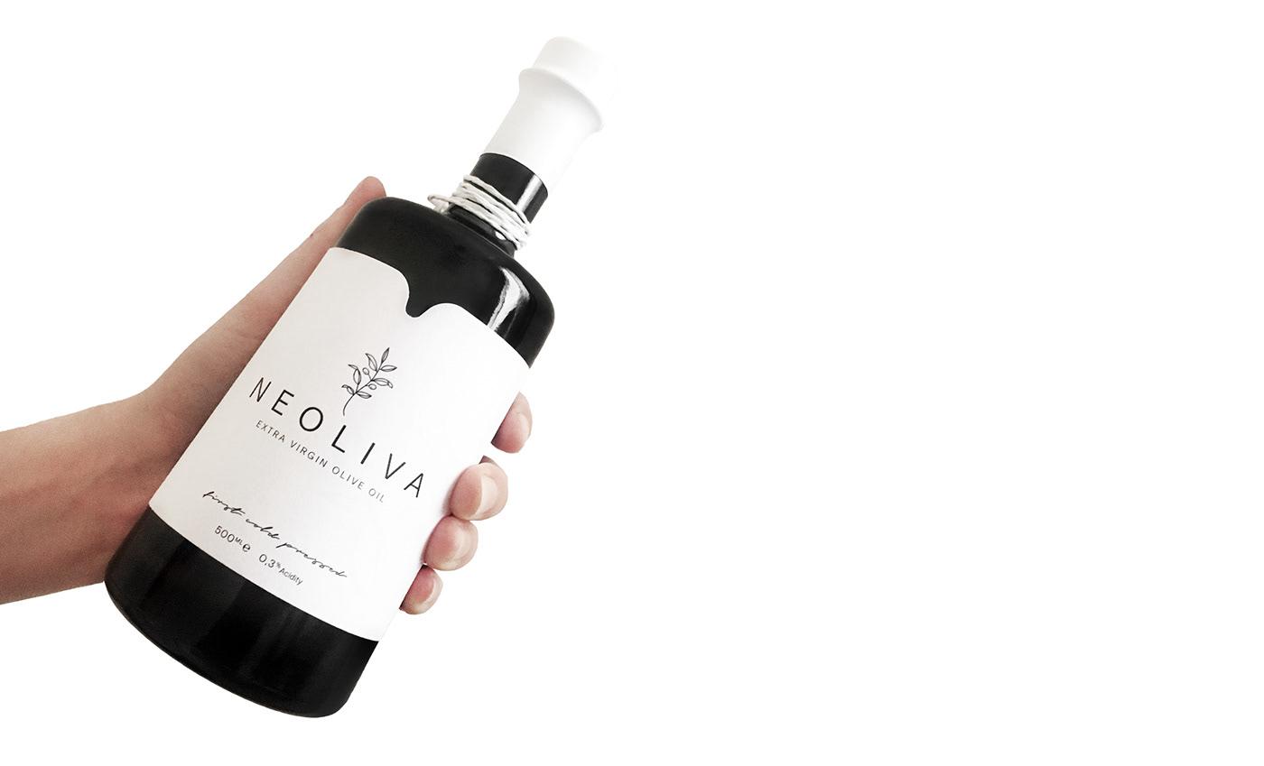 Neoliva Olive Oil bottle Packaging logo branding  Label brand identity minimal product