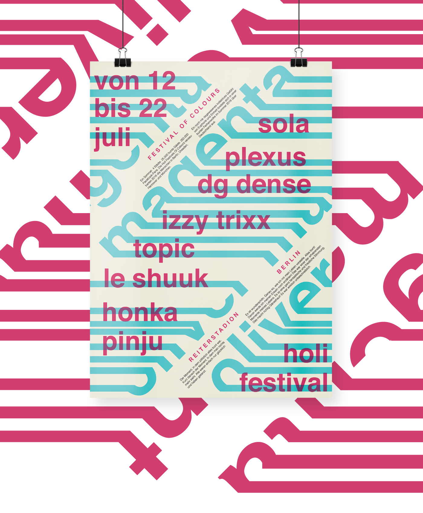 poster Booklet festival holi colours typography   magenta cyan berlin