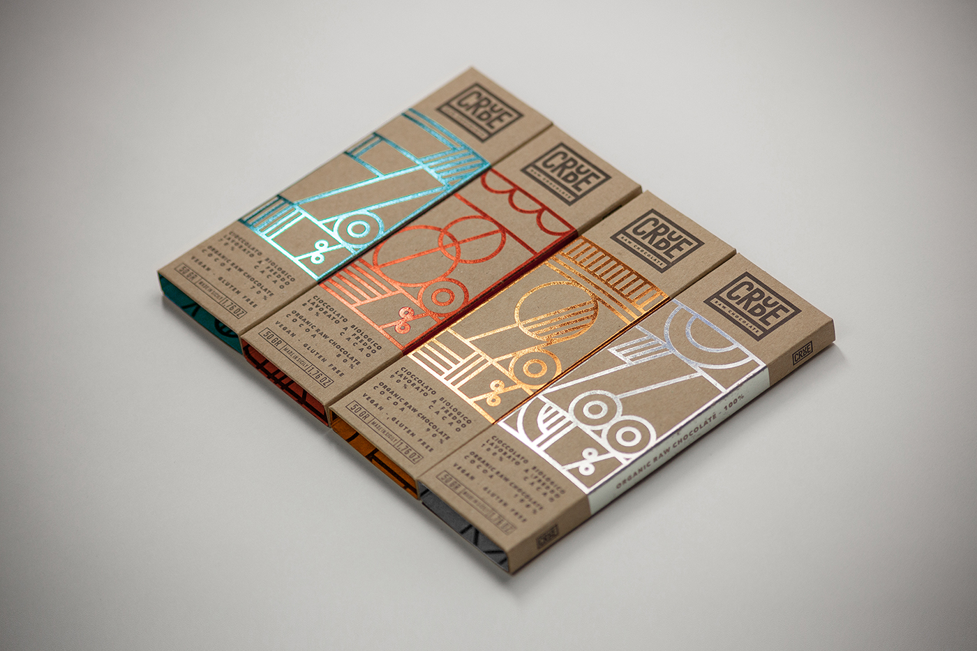 Packaging chocolate crude Happycentro gold foil cardboard