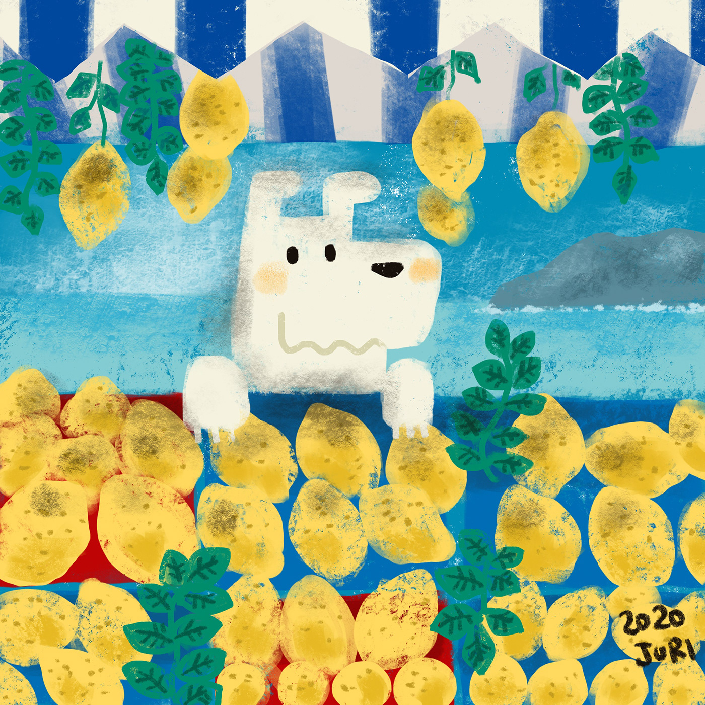 レモン売りのイラスト