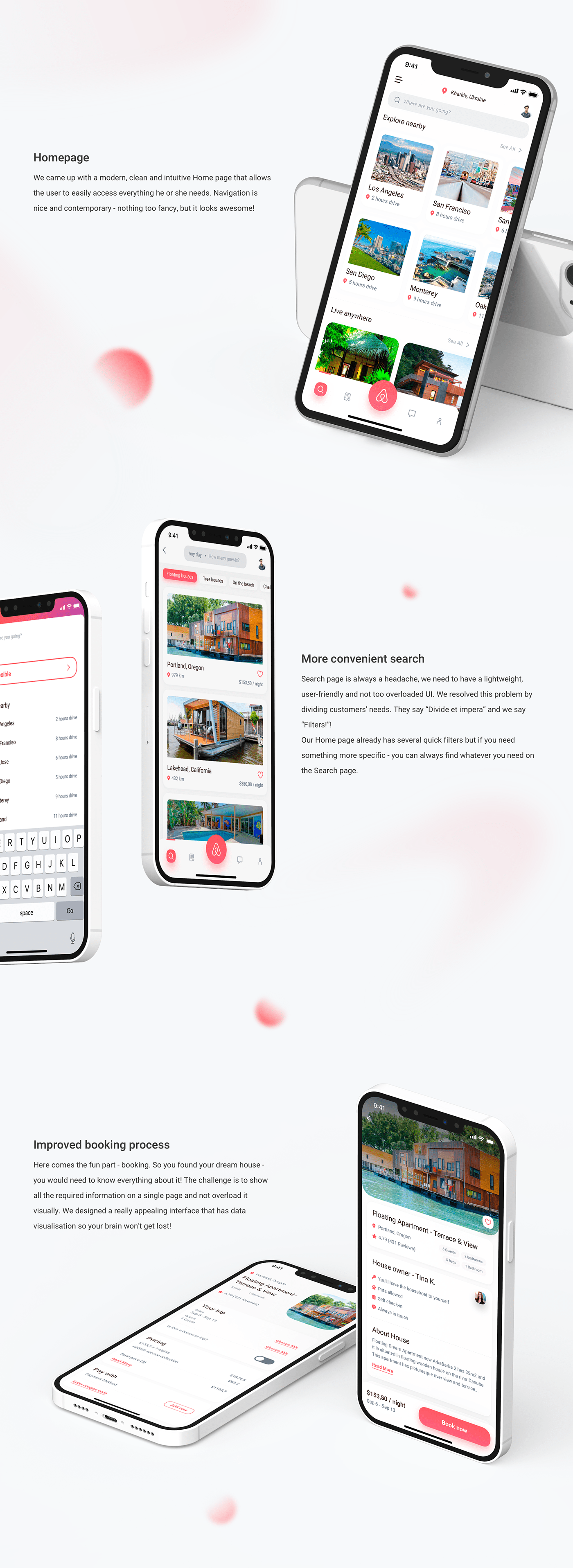 airbnb app application Booking ios mobile redesign Travel UI ux