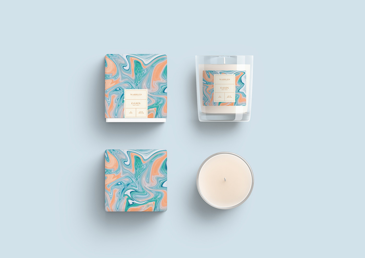 candle Marble box marbling package scent