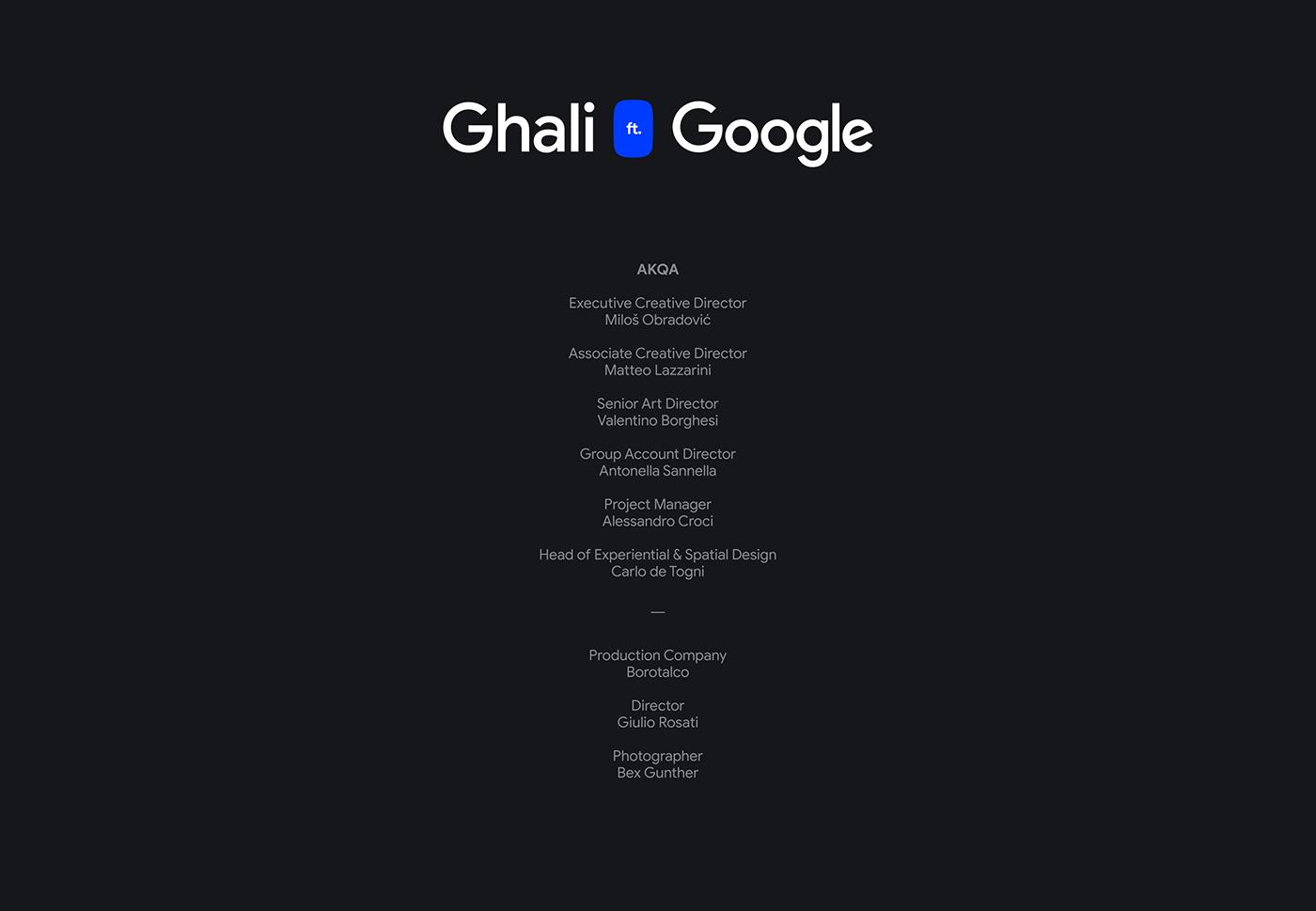 concert Experience ghali google immersive motion design Voice assistant