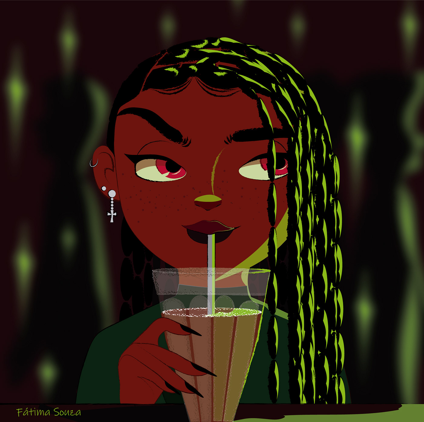art artwork black girl cartoon green light ILLUSTRATION