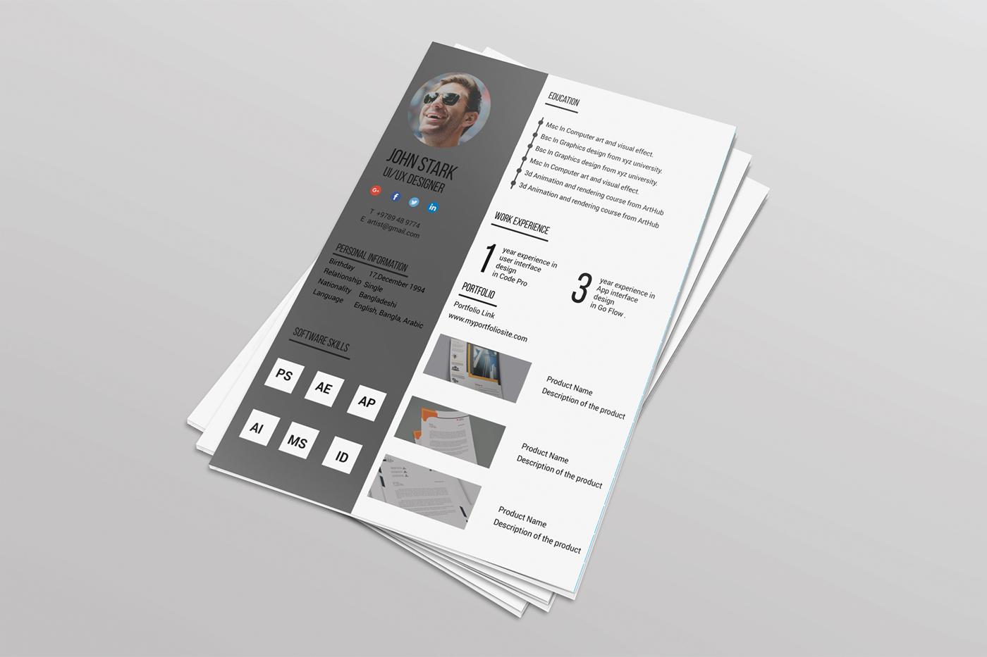 FREE Corporate Resume with portfolio(google drive link) on