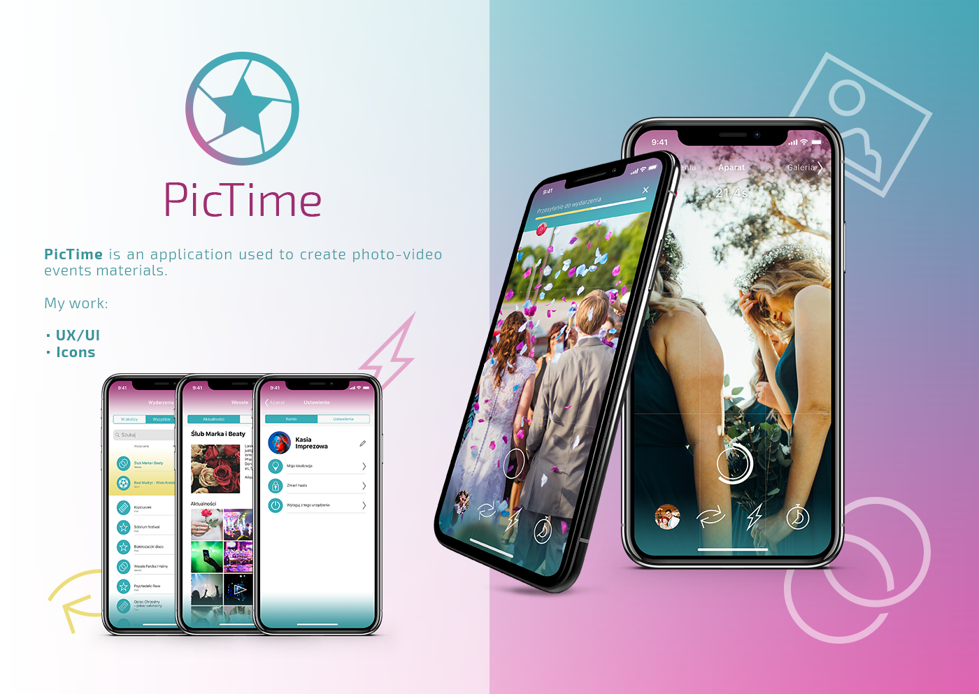 pictime photo video phone app wedding party Event Events UI