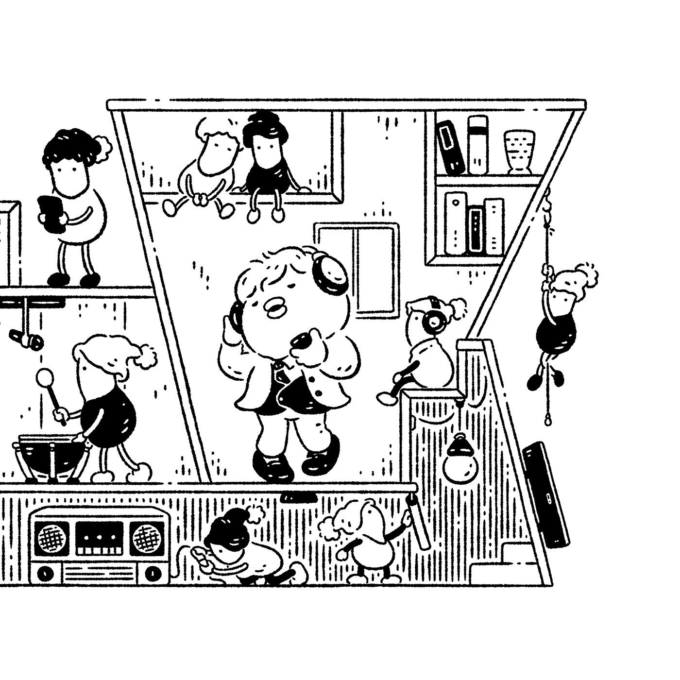 art ILLUSTRATION  popoland 插畫 波寶島 繪圖 藝術 角色 簡約 黑白
