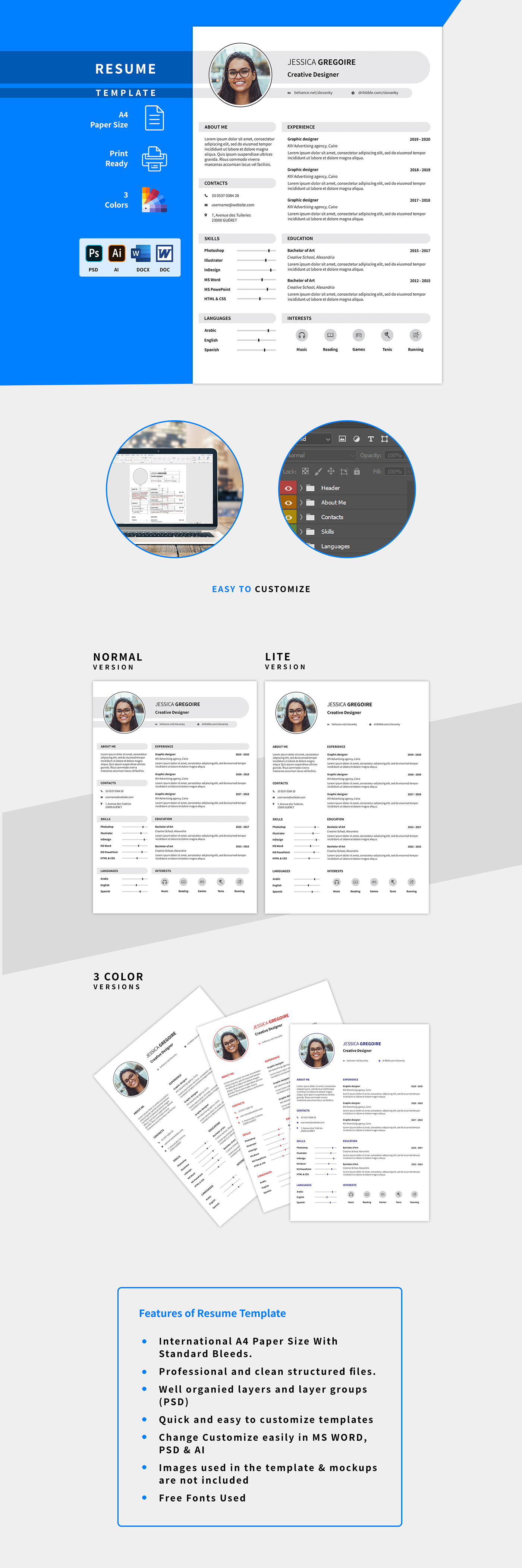 a4 black blue clean professional red Resume template