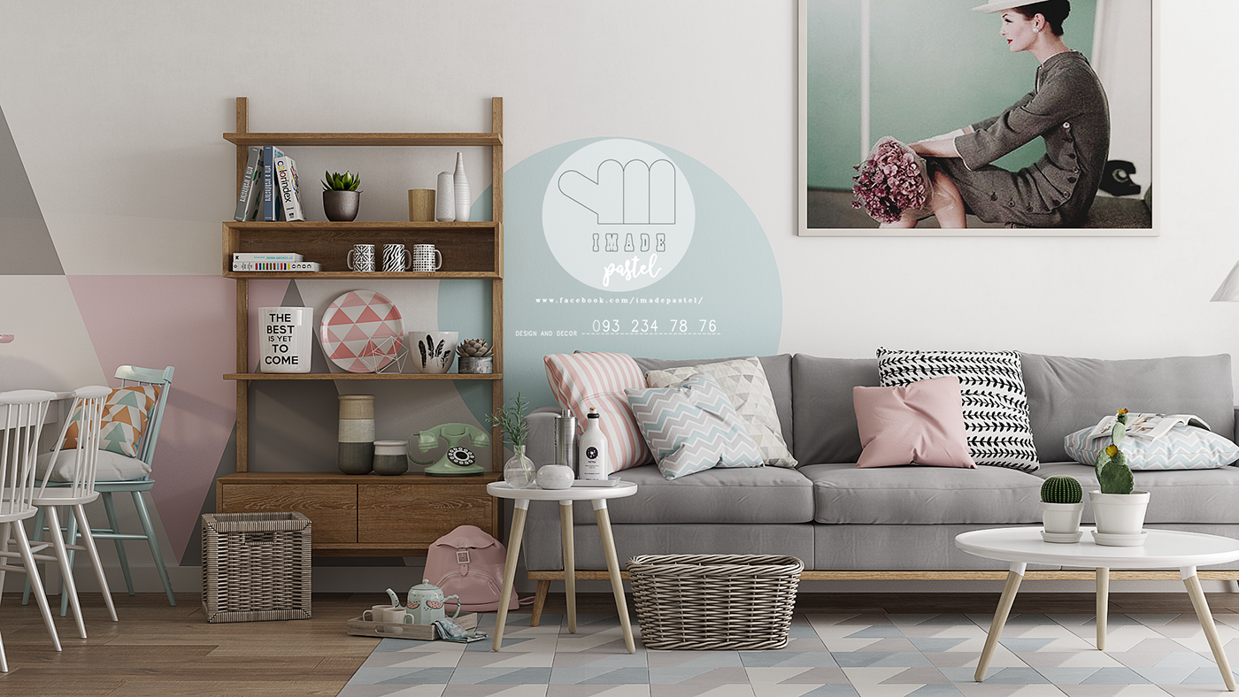 Apartment pastel 60m2 scandinavian on behance for 60m2 apartment design