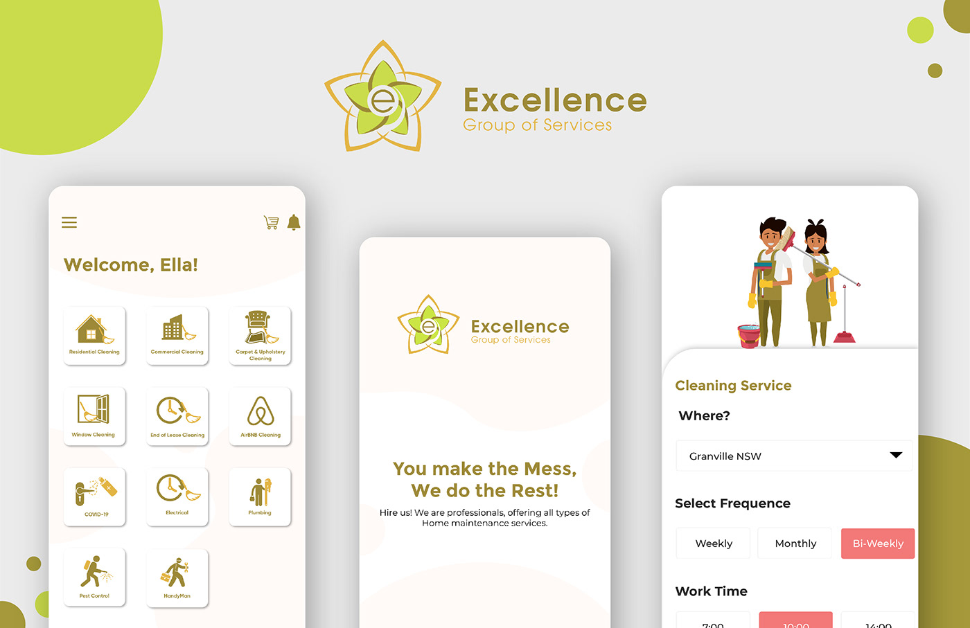 cleaning services mobile app design Mobile App UX/UI
