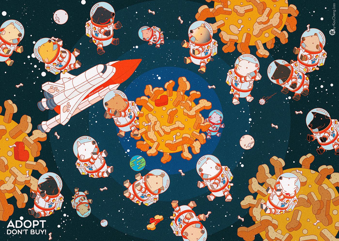 dog vector Space  summer beach spacesuit Spaceshuttle Love Isometric airballoon balloon vintage volkswagen MiniVan inspire