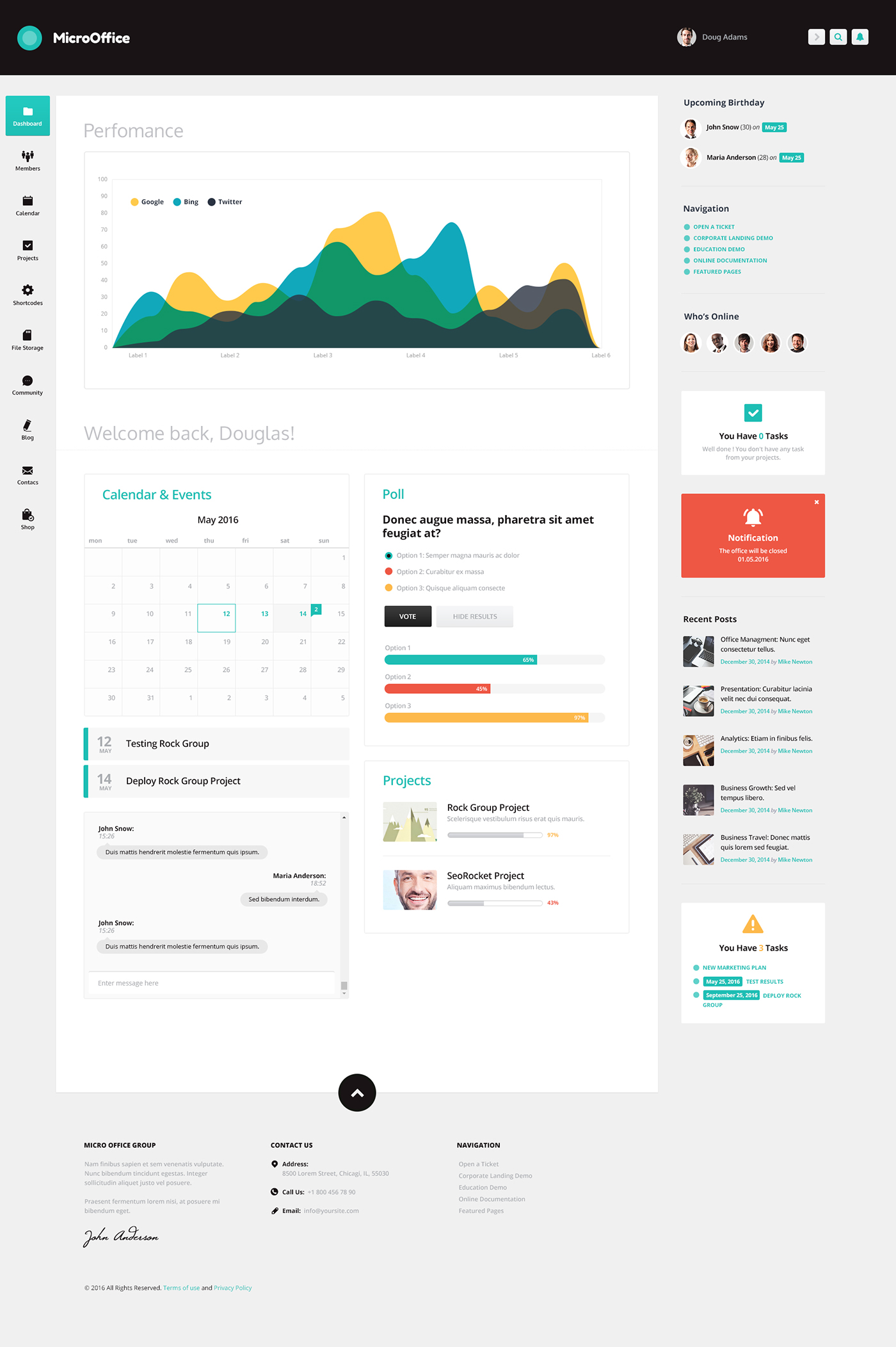 Micro Office | Intranet and Extranet WordPress Theme on Behance