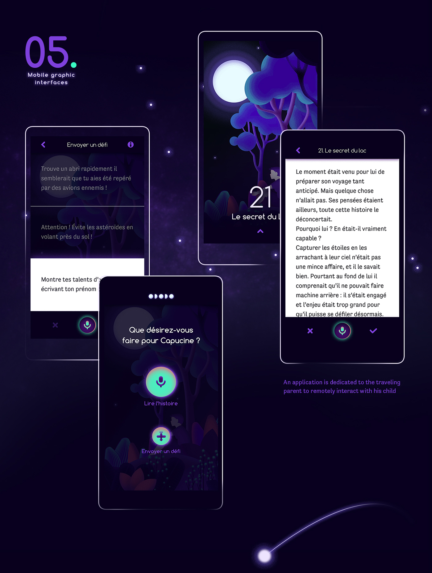 moon story app plane Connected object design Technology beacon child light