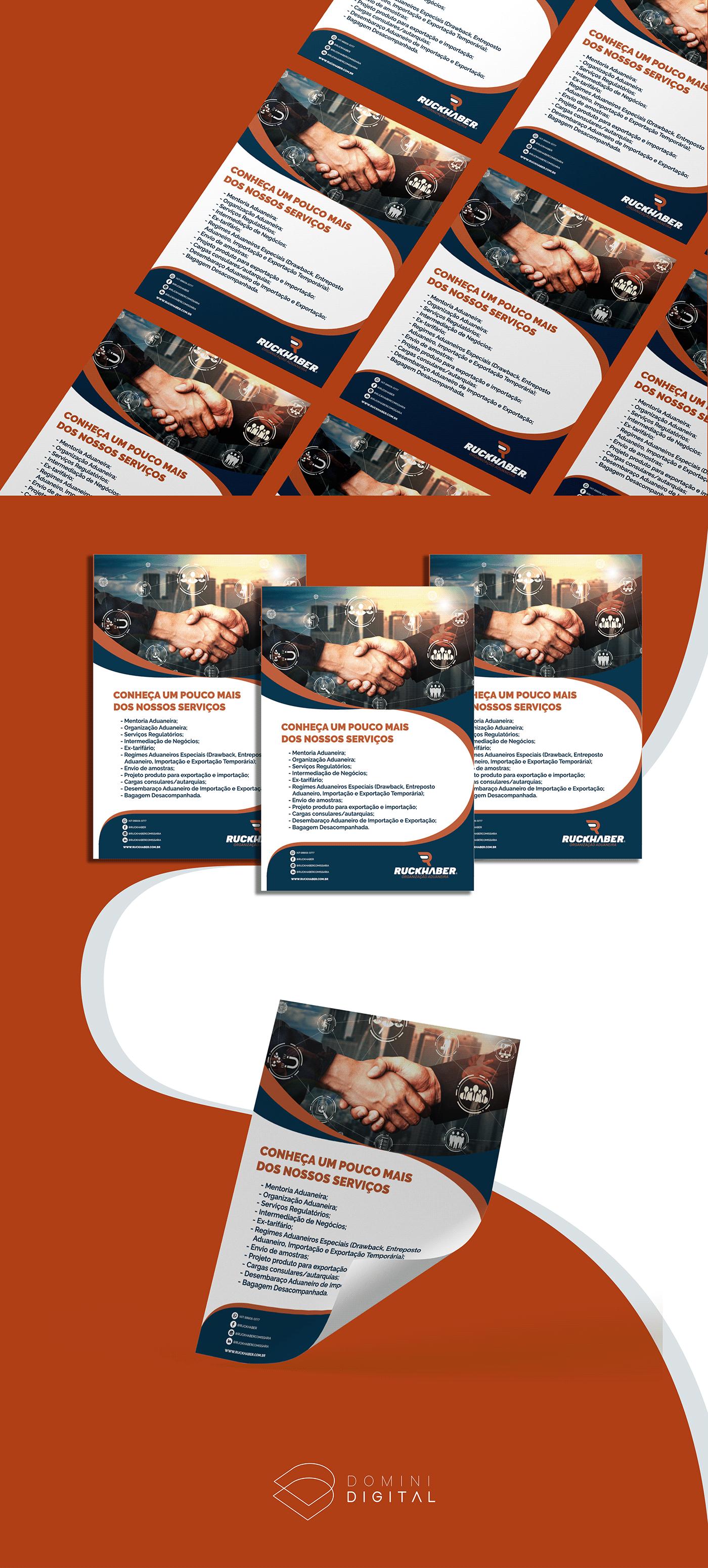 exportação flyer Importação organização aduaneira papelaria ruckhaber