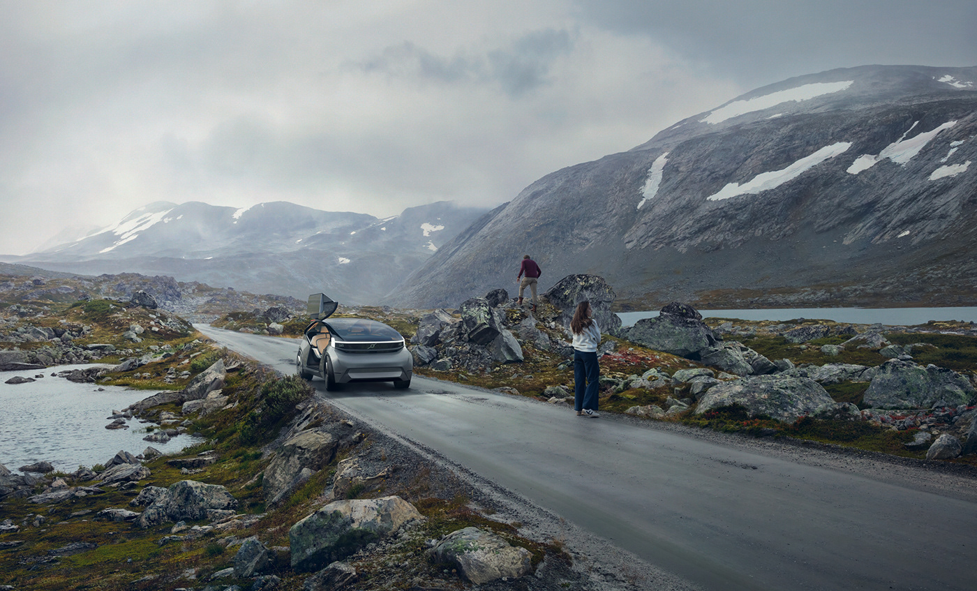 Landscape Cars CG Volvo conceptcar norway Aerial people Photography  retouching