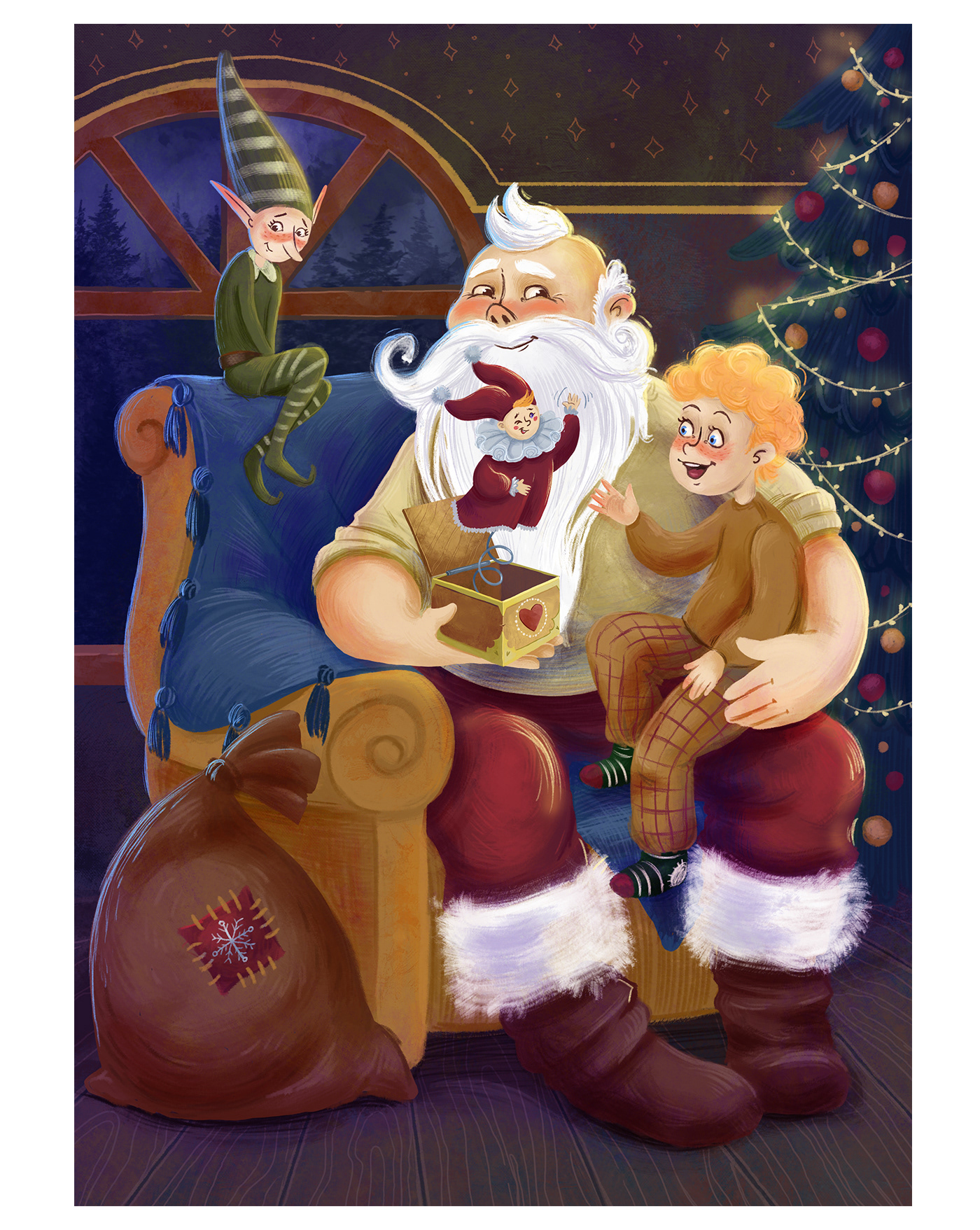 advent calendar children's book christmas Tree cover elf fairy story new year Santa Claus surprise toys