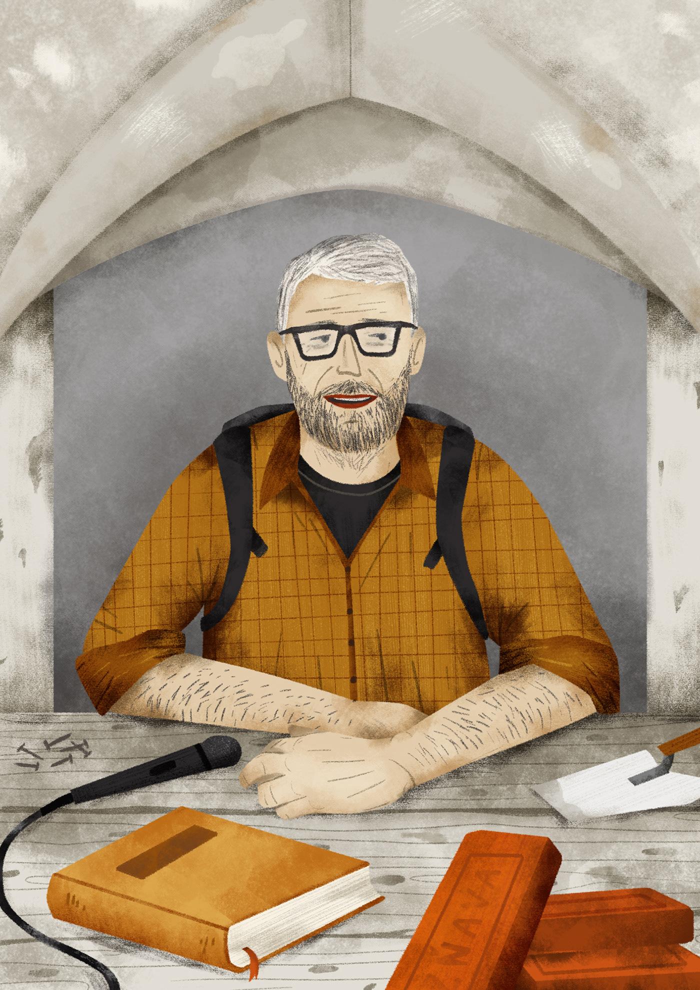 biography book illustration children book Editorial Illustration illustrator for hire Magazine illustration portrait illustration poster illustration slovak illustrator