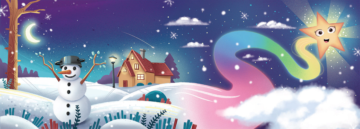 illustration of a snowy landscape with a shining star