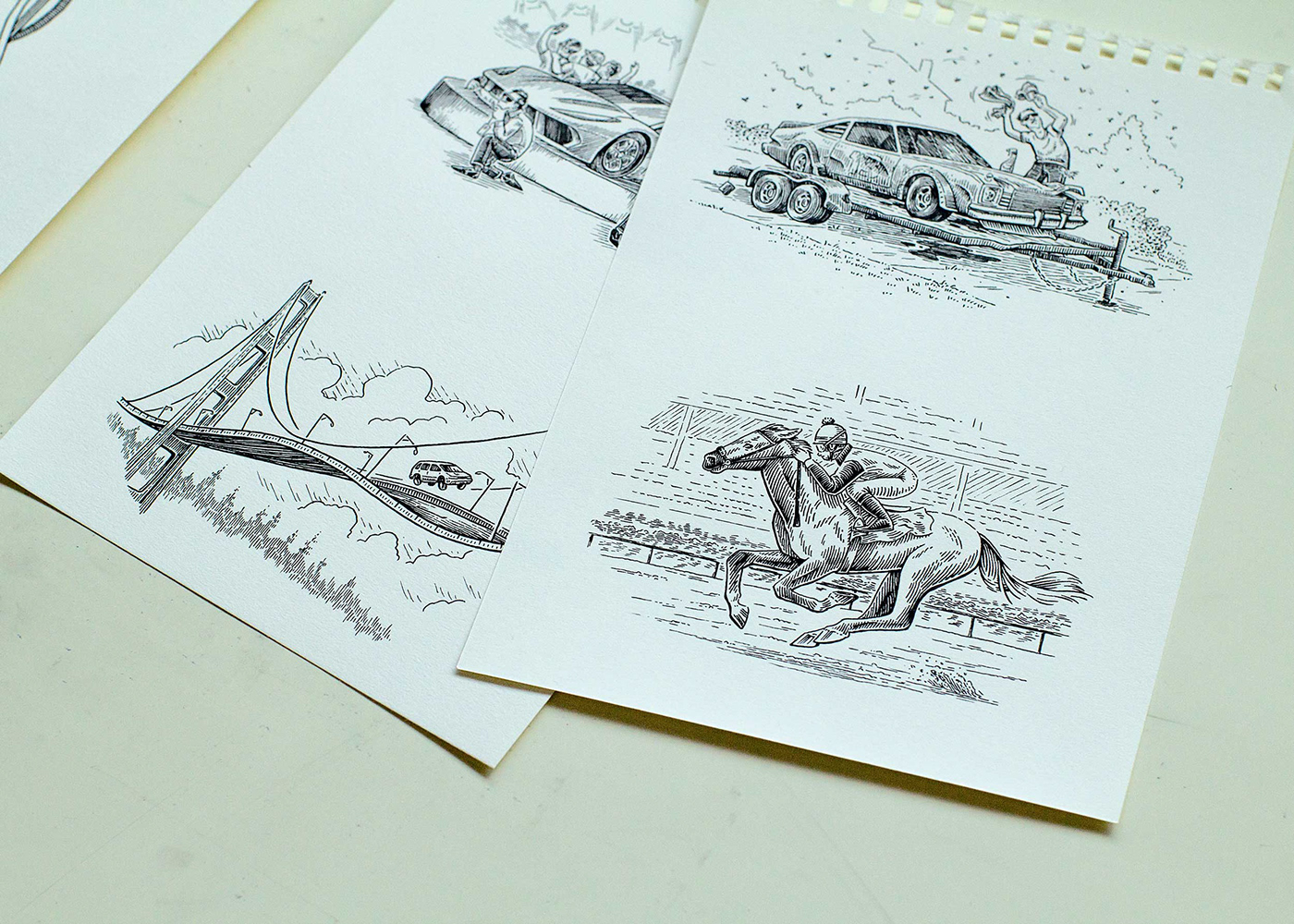 pen and ink ILLUSTRATION  editorial automotive   engraving scratchboard hand drawn