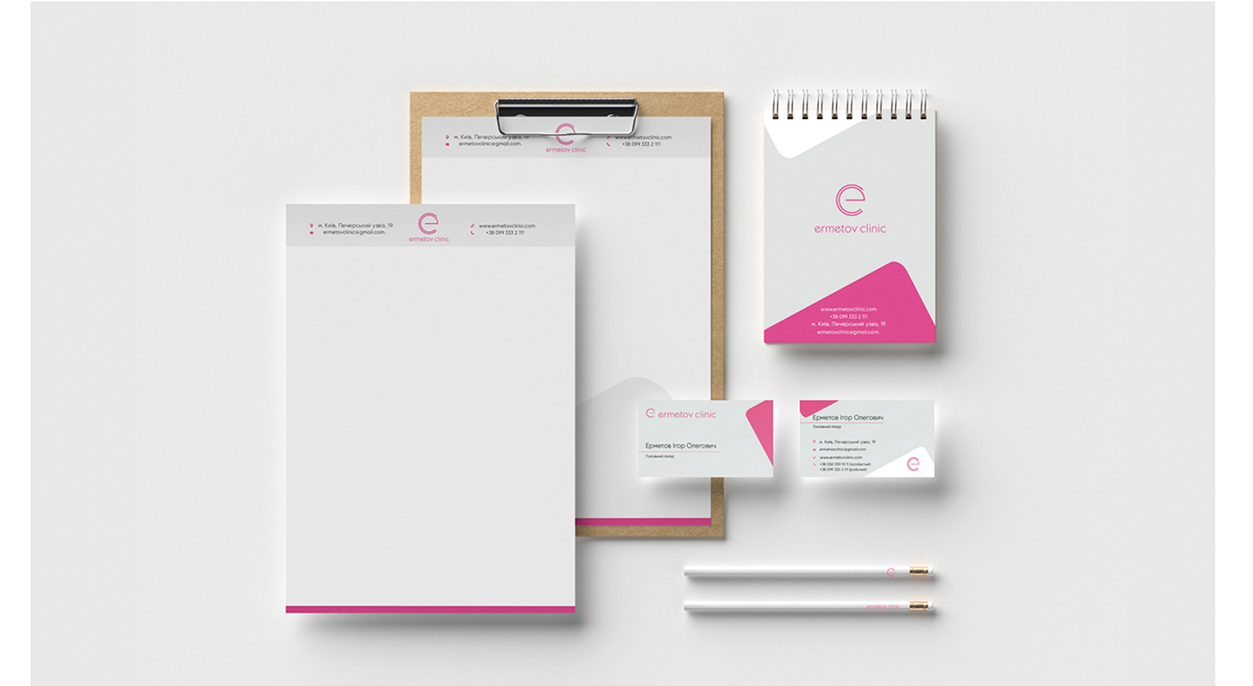 ermetov clinic teeth dentist design graphic polygraphy business card form style