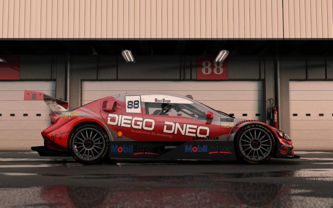 stockcar stockcarbrasil racing cars race vray 3dsmax 3D Cars