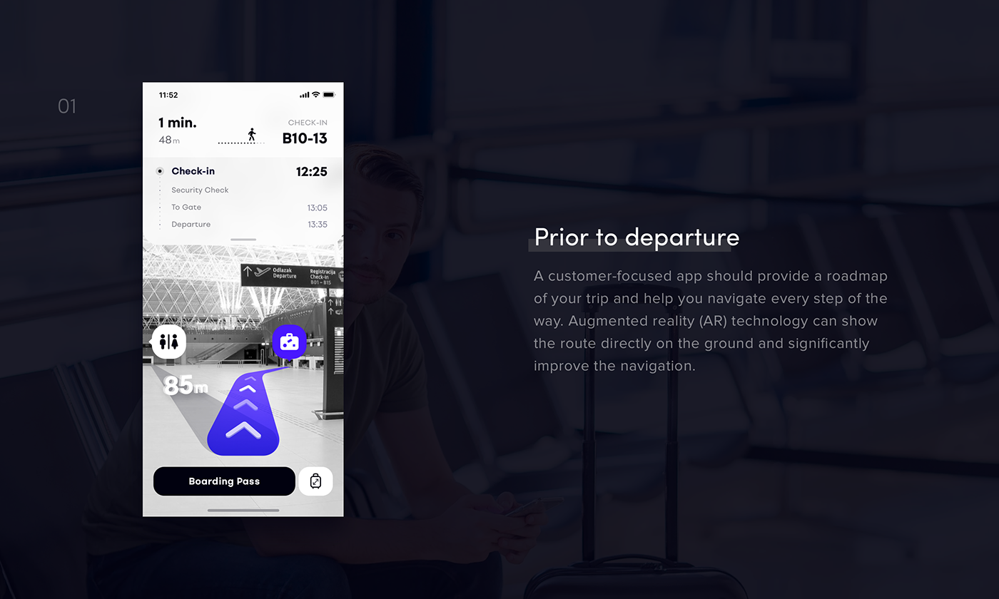 AR airport navigation map iphone UI ux mobile augmented reality airplane