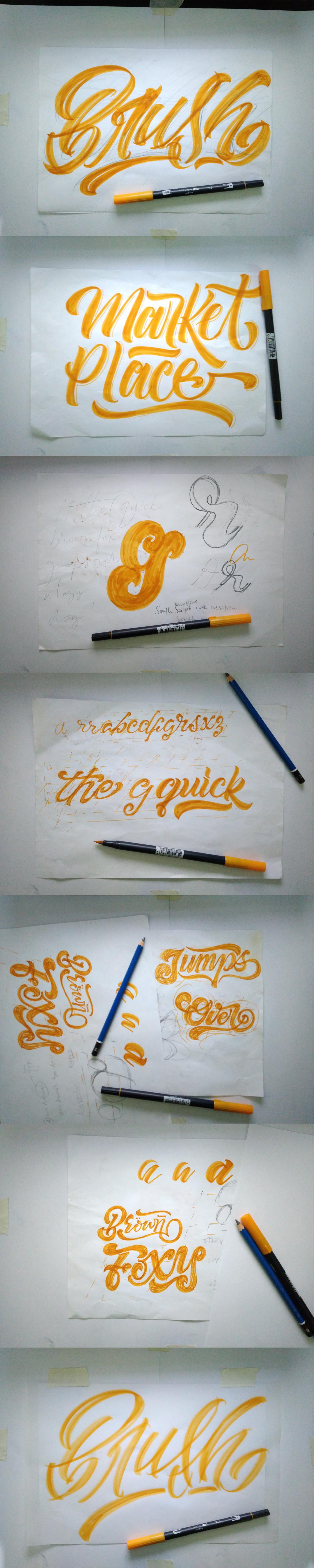 lettering Handlettering brush brushpen tombow orange colour guideline sketching font