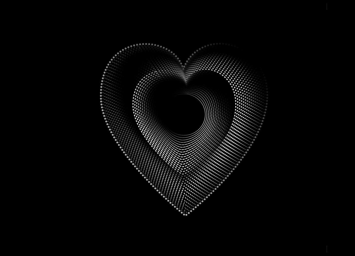 Baimu heart Black&white symbols concept graphic dots lines blend Illustrator vector Love vision hole black