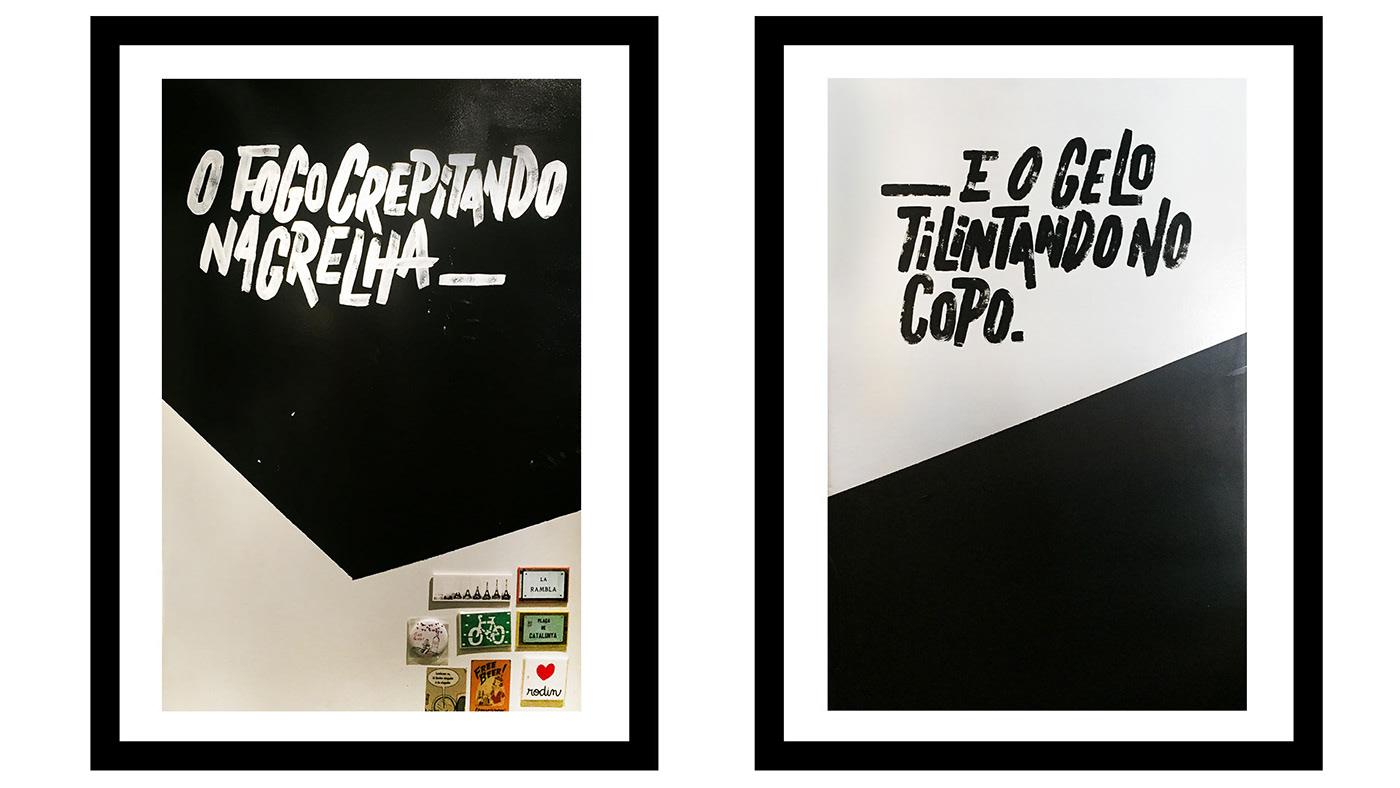 Ambientação branding  carvão intervenção lambe lettering painel restaurante rótulo