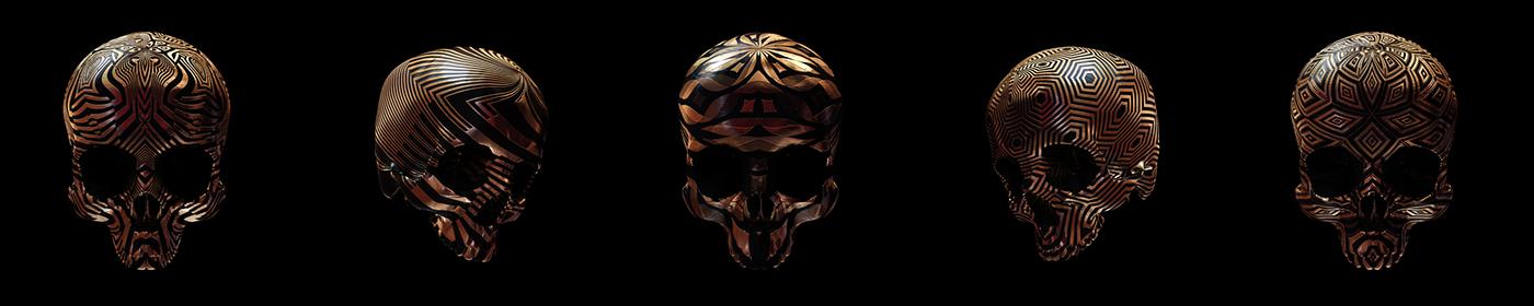 forsale sale print 3D skull skulls Skull art ornate folk texture geometry gold c4d japanese candy skull