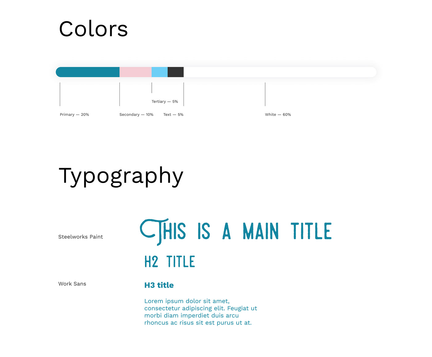 Colors and typefaces used across the project