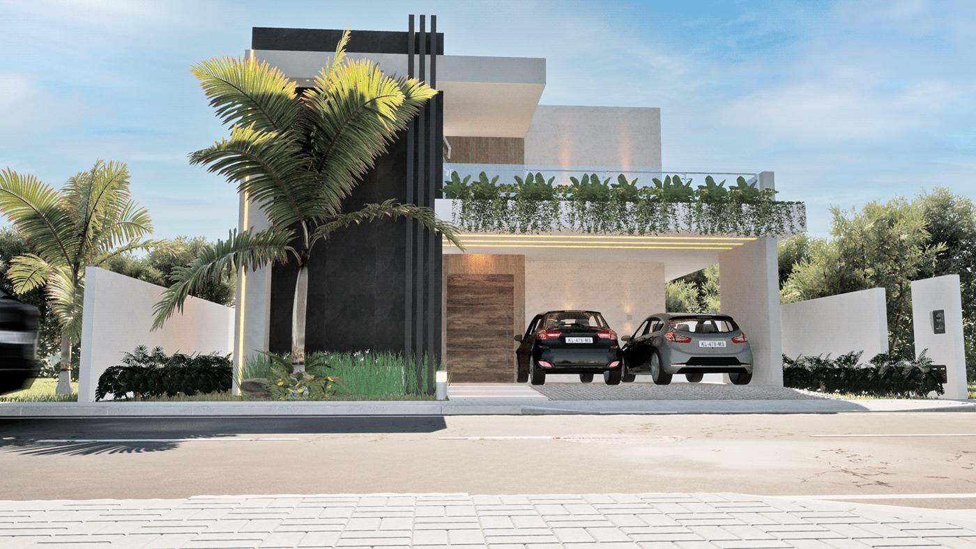 3D casa Contemporaneo fachada maquete Modelagem 3D palmeira projeto realista Render