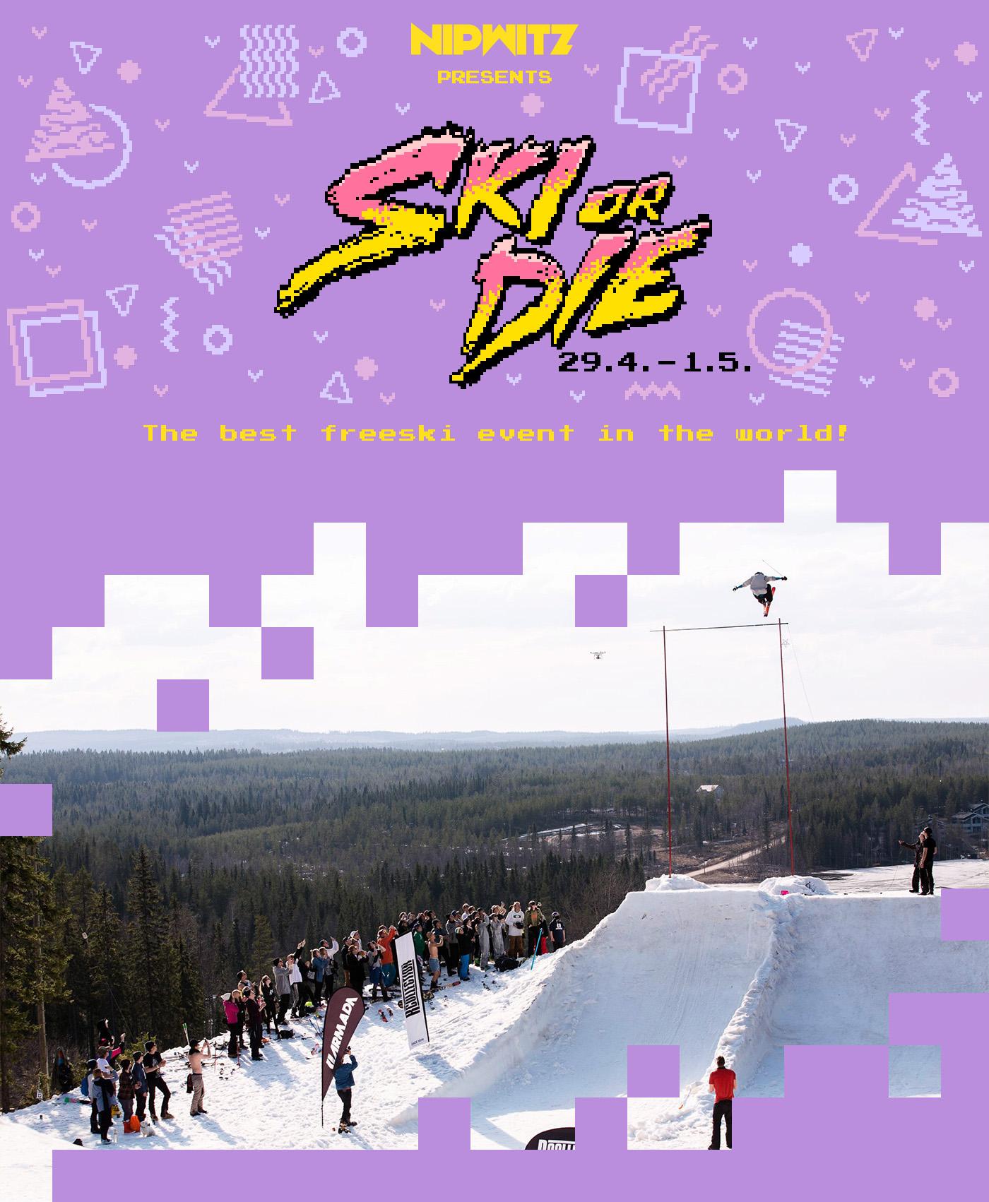 Pixel art Ski 80s 90s purple yellow pink extreme