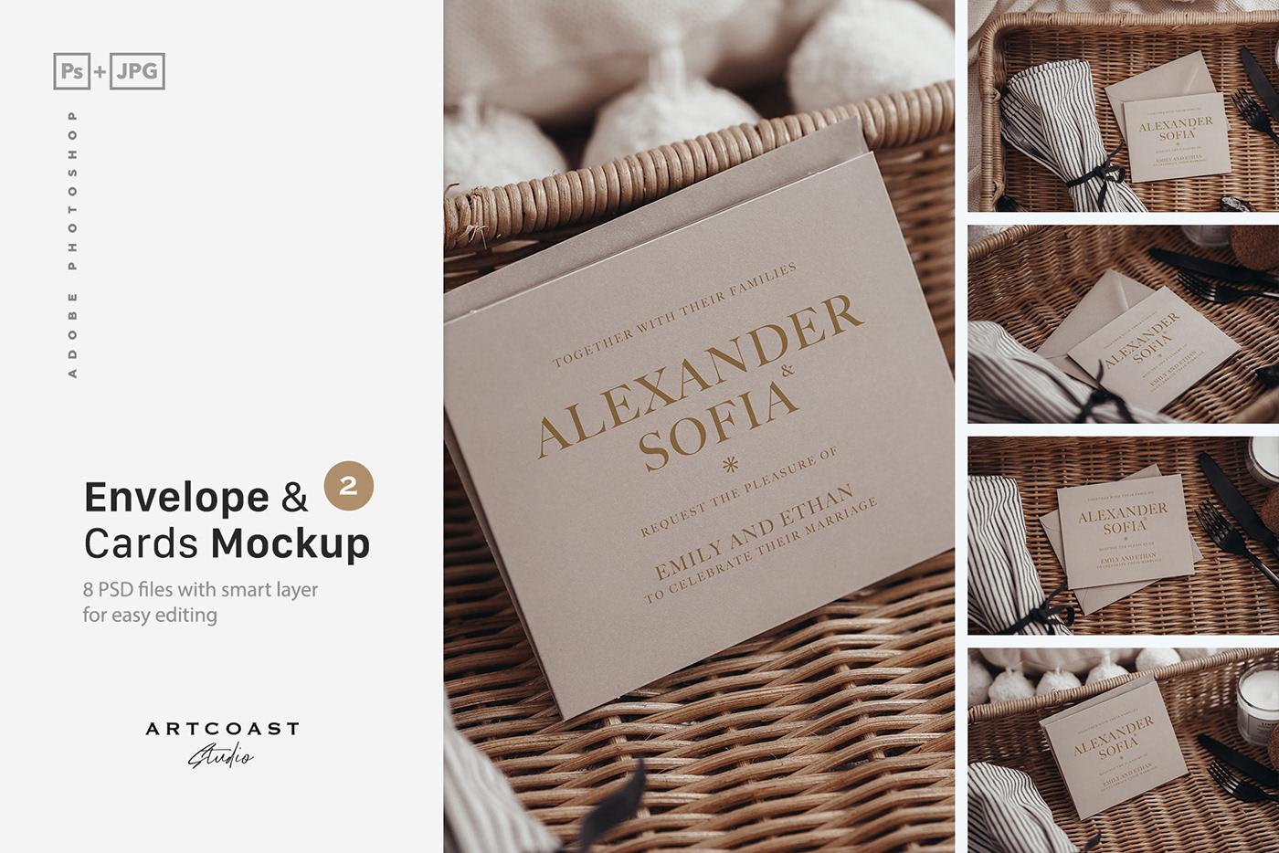 bogo mockup boho cards mockup envelope holiday card Mockup Photography  photoshop wedding invitation wedding mockup
