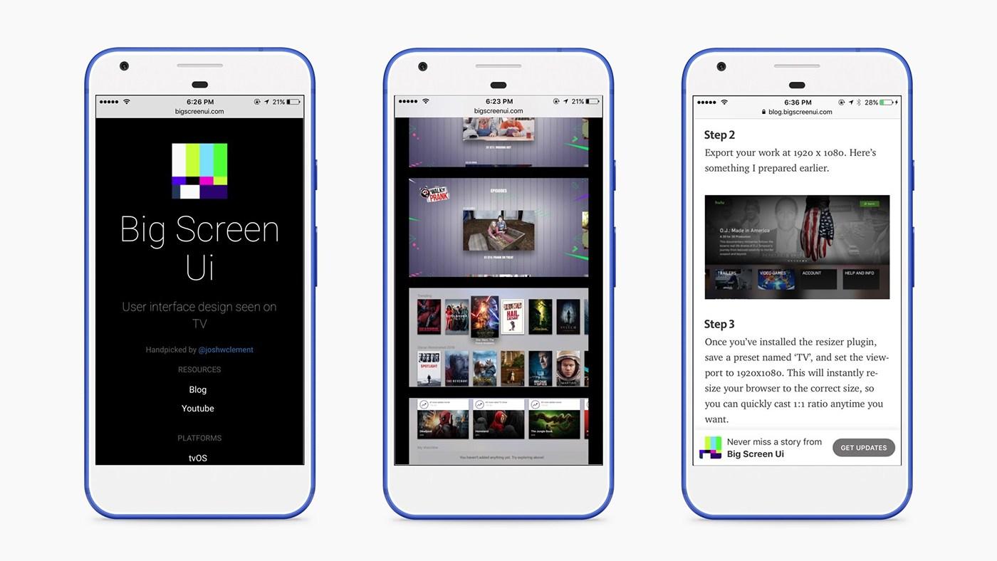 user interface Apple tv TVOS roku FireTV tv Patterns