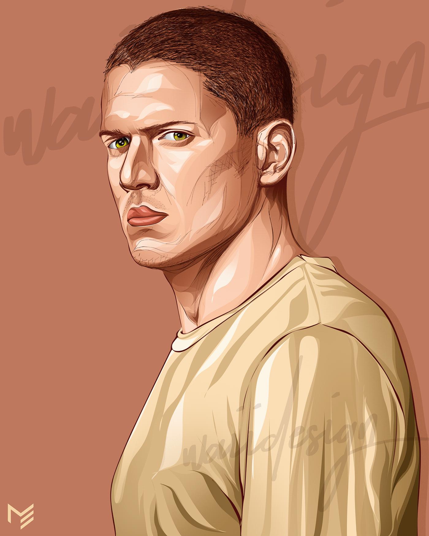art design ILLUSTRATION  Michael Scofield photoshop portrait poster Prison Break vectorart vexel